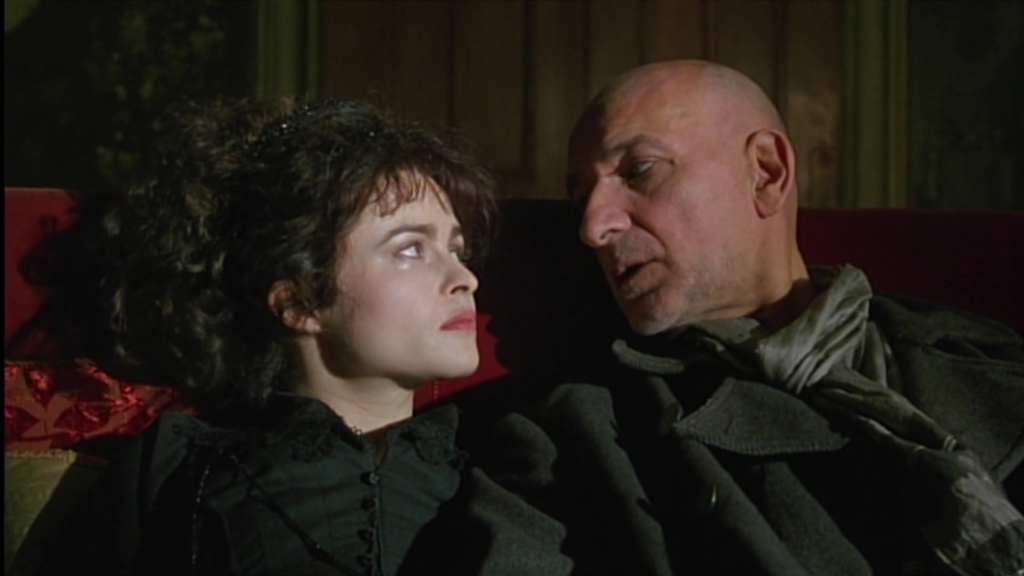 Helena Bonham Carter in Twelfth Night, sitting on a sofa with Ben Kingsley