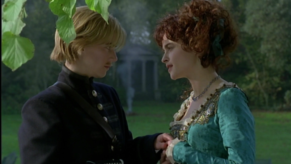 Helena Bonham Carter in Twelfth Night, sharing a tender moment with Imogen Stubbs who is dressed as a man