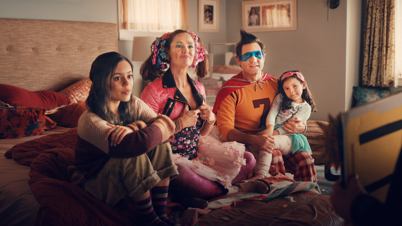 Netflix poster image of the film Yes Day, with the family in their living room