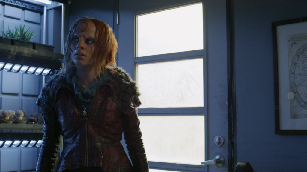 Stephanie Leonidas as Irisa, dripping wet from the rain